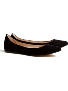 Black Ella Ballerina Pumps - predominant colour: black; occasions: casual, work; material: suede; heel height: flat; toe: pointed toe; style: ballerinas / pumps; finish: plain; pattern: plain
