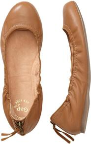 Scrunch Flats - predominant colour: camel; occasions: casual, work, holiday; material: leather; heel height: flat; embellishment: zips; toe: round toe; style: ballerinas / pumps; finish: plain; pattern: plain
