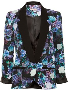 Floral Print Blazer - style: single breasted blazer; collar: standard lapel/rever collar; occasions: casual, evening, work, occasion; length: standard; fit: straight cut (boxy); fibres: polyester/polyamide - 100%; back detail: back vent/flap at back; predominant colour: multicoloured; sleeve length: long sleeve; sleeve style: standard; trends: high impact florals; collar break: low/open; pattern type: fabric; pattern size: big &amp; busy; pattern: florals; texture group: woven light midweight