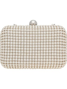 Mettalic Pearl Detail Box Clutch - predominant colour: ivory; occasions: evening, occasion; type of pattern: standard; style: clutch; length: hand carry; size: small; material: plastic/rubber; embellishment: pearls; pattern: plain; finish: plain