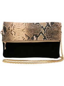 Snake Foldover Clutch - predominant colour: black; occasions: evening, occasion; type of pattern: standard; style: clutch; length: hand carry; size: standard; material: animal skin; pattern: animal print; finish: plain; embellishment: chain/metal