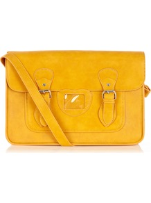 Satchel Bag - predominant colour: yellow; occasions: casual, work; style: satchel; length: across body/long; size: standard; material: faux leather; pattern: plain; finish: plain