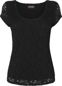 Lace Scoop Neck Top, Black - neckline: round neck; pattern: plain; predominant colour: black; occasions: evening, work; length: standard; style: top; fibres: nylon - mix; fit: body skimming; sleeve length: short sleeve; sleeve style: standard; texture group: lace; pattern type: fabric; pattern size: standard