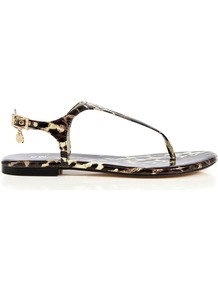 Kmtoe Thong Sandals, Leopard Print - predominant colour: chocolate brown; occasions: casual, work, holiday; material: leather; heel height: flat; embellishment: buckles; ankle detail: ankle strap; heel: standard; toe: toe thongs; style: flip flops / toe post; finish: patent; pattern: animal print