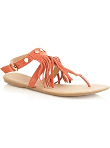Fringed Suede Stud Sandal, Coral - predominant colour: coral; occasions: casual, holiday; material: suede; heel height: mid; embellishment: tassels; ankle detail: ankle strap; heel: standard; toe: toe thongs; style: flip flops / toe post; finish: plain; pattern: plain