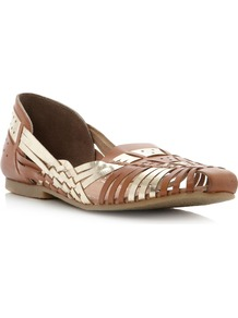 Moiran Summer Ballerina Shoes, Tan - predominant colour: tan; occasions: casual, holiday; material: faux leather; heel height: flat; toe: round toe; style: ballerinas / pumps; finish: plain; pattern: plain