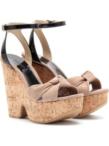 Gleam Platform Sandals - predominant colour: nude; occasions: casual, evening, holiday; material: suede; heel height: high; ankle detail: ankle strap; heel: wedge; toe: open toe/peeptoe; style: standard; finish: plain; pattern: colourblock; embellishment: bow