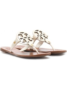 Miller Leather Thong Sandals - predominant colour: ivory; occasions: casual, holiday; material: leather; heel height: flat; heel: standard; toe: toe thongs; style: flip flops / toe post; finish: plain; pattern: plain; embellishment: chain/metal