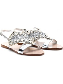 Leather Sandals With Embellished Heart - predominant colour: silver; occasions: casual, evening, occasion, holiday; material: leather; heel height: flat; embellishment: crystals; ankle detail: ankle strap; heel: standard; toe: open toe/peeptoe; style: standard; trends: metallics; finish: metallic; pattern: plain