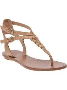 Rank Thong Sandal - predominant colour: camel; occasions: casual, holiday; material: leather; heel height: flat; ankle detail: ankle strap; heel: standard; toe: toe thongs; style: flip flops / toe post; finish: plain; pattern: plain