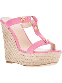 'Medusa' Wedge Sandal - predominant colour: pink; occasions: casual, evening, holiday; material: leather; heel height: high; embellishment: studs; heel: wedge; toe: open toe/peeptoe; style: slides; finish: plain; pattern: plain