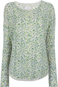 'Kimmy' Leopard Print Top - neckline: round neck; pattern: plain; length: below the bottom; predominant colour: emerald green; secondary colour: lime; occasions: casual; style: top; fit: body skimming; sleeve length: long sleeve; sleeve style: standard; pattern type: fabric; pattern size: standard; texture group: other - light to midweight; fibres: cashmere - mix