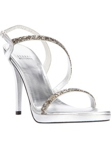 Strappy Sandal - predominant colour: silver; occasions: evening, occasion; material: leather; heel height: high; embellishment: crystals; ankle detail: ankle strap; heel: stiletto; toe: open toe/peeptoe; style: strappy; trends: metallics; finish: metallic; pattern: plain