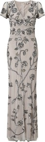 Mesh Beaded Long Dress, Silver - style: faux wrap/wrap; neckline: low v-neck; sleeve style: capped; bust detail: added detail/embellishment at bust; waist detail: fitted waist; predominant colour: silver; occasions: evening, occasion; length: floor length; fit: body skimming; fibres: polyester/polyamide - 100%; shoulder detail: asymmetric shoulder detail/one shoulder; sleeve length: short sleeve; texture group: sheer fabrics/chiffon/organza etc.; pattern type: fabric; pattern size: big &amp; busy; pattern: patterned/print; embellishment: beading