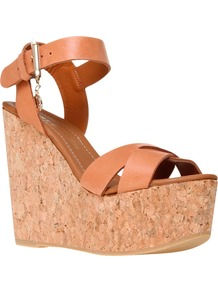 Contra Leather Cork Wedge Sandals - predominant colour: tan; occasions: casual, evening, holiday; material: leather; heel height: high; ankle detail: ankle strap; heel: wedge; toe: open toe/peeptoe; style: standard; finish: plain; pattern: plain