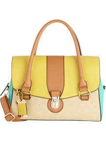 Colour Block Barrel Bag, Multi - occasions: casual, work; predominant colour: multicoloured; type of pattern: standard; style: tote; length: handle; size: standard; material: faux leather; finish: plain; pattern: colourblock
