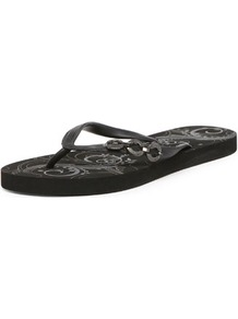 Dunlop Black Loop Flip Flops - predominant colour: black; occasions: casual, holiday; material: plastic/rubber; heel height: flat; heel: standard; toe: toe thongs; style: flip flops / toe post; finish: patent; pattern: plain; embellishment: chain/metal