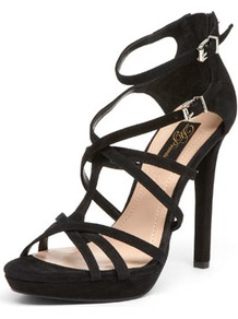 Black Suede Strap Sandals - predominant colour: black; occasions: evening, occasion; material: suede; heel height: high; ankle detail: ankle strap; heel: stiletto; toe: open toe/peeptoe; style: strappy; finish: plain; pattern: plain
