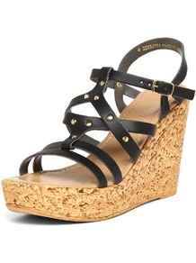 Black Stud Detail Wedges - predominant colour: black; occasions: casual, evening, holiday; material: faux leather; heel height: high; embellishment: studs; ankle detail: ankle strap; heel: wedge; toe: open toe/peeptoe; style: strappy; finish: plain; pattern: plain
