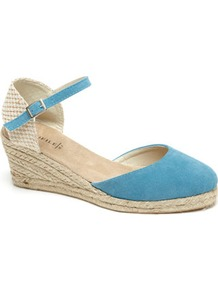 Turquoise Espadrille Style Wedge Sandal - predominant colour: turquoise; occasions: casual, holiday; material: fabric; heel height: mid; embellishment: buckles; ankle detail: ankle strap; heel: wedge; toe: open toe/peeptoe; style: standard; finish: plain; pattern: plain