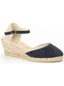 Navy Espadrille Style Wedge Sandal - predominant colour: navy; occasions: casual, holiday; material: faux leather; heel height: mid; ankle detail: ankle strap; heel: wedge; toe: round toe; style: courts; finish: plain; pattern: plain