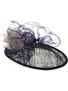 Princess - predominant colour: navy; occasions: occasion; style: fascinator; size: standard; material: sinamay; pattern: two-tone; embellishment: corsage