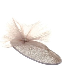 Suzie - predominant colour: nude; occasions: occasion; style: fascinator; size: large; material: sinamay; embellishment: crystals; pattern: plain