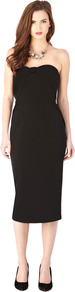Alves Dress - style: shift; length: below the knee; fit: tailored/fitted; pattern: plain; sleeve style: strapless; bust detail: added detail/embellishment at bust; waist detail: fitted waist; neckline: sweetheart; predominant colour: black; occasions: evening, occasion; fibres: viscose/rayon - stretch; sleeve length: sleeveless; texture group: technical outdoor fabrics; pattern type: fabric