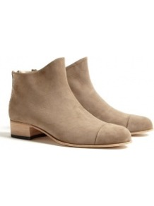 Exclusive Neutral Beau5 Zip Back Ankle Boots - predominant colour: camel; occasions: casual, evening, work; material: suede; heel height: mid; embellishment: zips; heel: block; toe: round toe; boot length: ankle boot; style: standard; finish: plain; pattern: plain