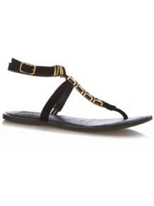 Lena Sandal - predominant colour: black; occasions: casual, holiday; material: leather; heel height: flat; ankle detail: ankle strap; heel: standard; toe: toe thongs; style: flip flops / toe post; finish: plain; pattern: plain; embellishment: chain/metal