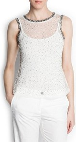Beaded Embroidered Tulle Top - pattern: plain; sleeve style: sleeveless; bust detail: added detail/embellishment at bust; waist detail: fitted waist; shoulder detail: contrast pattern/fabric at shoulder; predominant colour: white; secondary colour: champagne; occasions: casual, evening, occasion, holiday; length: standard; style: top; fibres: polyester/polyamide - 100%; fit: body skimming; neckline: crew; back detail: keyhole/peephole detail at back; sleeve length: sleeveless; trends: metallics; pattern type: fabric; pattern size: small &amp; busy; texture group: net/tulle; embellishment: beading