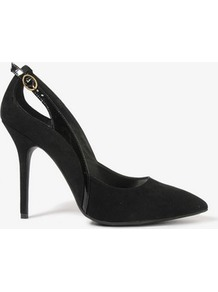 Patent Buckle Pointed Pumps - predominant colour: black; occasions: evening, work, occasion; material: suede; heel height: high; embellishment: buckles; heel: stiletto; toe: pointed toe; style: courts; finish: plain; pattern: plain