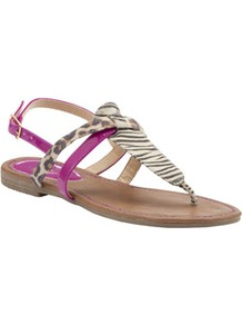 Colour Block Toe Post Sandals - predominant colour: magenta; occasions: casual, holiday; material: faux leather; heel height: flat; heel: standard; toe: toe thongs; style: flip flops / toe post; finish: patent; pattern: animal print