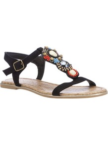 Beaded Tribal Sandals - predominant colour: black; occasions: casual, holiday; material: fabric; heel height: flat; embellishment: beading; ankle detail: ankle strap; heel: standard; toe: open toe/peeptoe; style: gladiators; finish: plain; pattern: plain