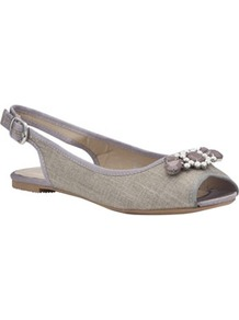 Raffia Jewelled Slingback Sandals - predominant colour: stone; occasions: casual, evening, work, holiday; material: macrame/raffia/straw; heel height: flat; embellishment: jewels; ankle detail: ankle strap; heel: standard; toe: open toe/peeptoe; style: standard; finish: plain; pattern: plain