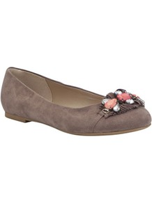 Wide Fit Jewelled Pumps - predominant colour: taupe; occasions: casual, evening, work; material: suede; heel height: flat; embellishment: beading; toe: round toe; style: ballerinas / pumps; finish: plain; pattern: plain