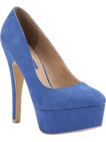 Limited Edition High Platform Shoes - predominant colour: denim; occasions: evening, work, occasion; material: suede; heel height: high; heel: platform; toe: round toe; style: courts; finish: plain; pattern: plain