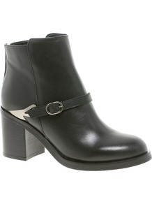Premium After Glow Leather Ankle Boots - predominant colour: black; occasions: casual, evening, work; material: faux leather; heel height: mid; embellishment: buckles; heel: block; toe: round toe; boot length: ankle boot; style: standard; finish: plain; pattern: plain