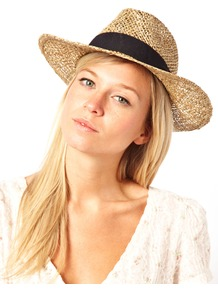 Straw Hat - predominant colour: stone; occasions: casual, holiday; type of pattern: light; style: panama; size: standard; material: macrame/raffia/straw; embellishment: ribbon; pattern: plain