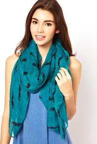 Moustache Print Scarf - predominant colour: teal; occasions: casual; type of pattern: light; style: regular; size: standard; material: fabric; pattern: patterned/print