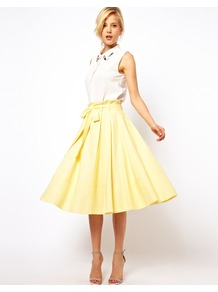 Linen Midi Skirt With Belt - length: below the knee; pattern: plain; fit: loose/voluminous; style: pleated; waist: high rise; waist detail: belted waist/tie at waist/drawstring; predominant colour: primrose yellow; occasions: casual, evening, holiday; fibres: linen - mix; texture group: cotton feel fabrics