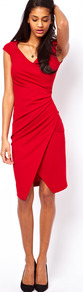 Pencil Dress With Ruched Wrap - style: faux wrap/wrap; neckline: low v-neck; sleeve style: capped; pattern: plain; waist detail: twist front waist detail/nipped in at waist on one side/soft pleats/draping/ruching/gathering waist detail; predominant colour: true red; occasions: evening; length: just above the knee; fit: body skimming; fibres: polyester/polyamide - stretch; sleeve length: sleeveless; pattern type: fabric; texture group: jersey - stretchy/drapey