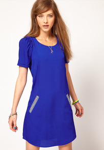 Shift Dress With Aztec Pockets - style: shift; length: mid thigh; neckline: round neck; pattern: plain; hip detail: side pockets at hip; predominant colour: royal blue; occasions: casual; fit: body skimming; fibres: polyester/polyamide - 100%; shoulder detail: flat/draping pleats/ruching/gathering at shoulder; sleeve length: short sleeve; sleeve style: standard; pattern type: fabric; texture group: other - light to midweight