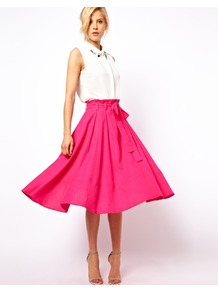 Linen Midi Skirt With Belt - length: below the knee; pattern: plain; fit: loose/voluminous; style: pleated; waist: high rise; waist detail: belted waist/tie at waist/drawstring; predominant colour: hot pink; occasions: casual, evening, work, holiday; fibres: linen - mix; hip detail: soft pleats at hip/draping at hip/flared at hip; texture group: linen; trends: volume; pattern type: fabric; pattern size: standard