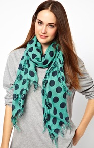 Super Spot Scarf - predominant colour: turquoise; occasions: casual, work, holiday; type of pattern: standard; style: regular; size: standard; material: fabric; embellishment: fringing; pattern: polka dot