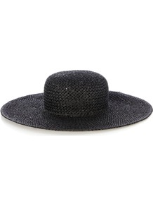 Floppy Hat, Black - predominant colour: black; occasions: casual, holiday; style: wide brimmed; size: large; material: macrame/raffia/straw; pattern: plain