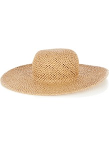 Floppy Hat, Neutral - predominant colour: stone; occasions: casual, holiday; style: sunhat; size: large; material: macrame/raffia/straw; pattern: plain