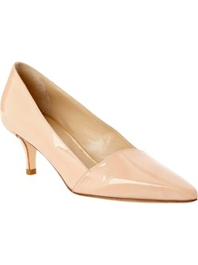 Elle Patent Leather Court Shoes - predominant colour: nude; occasions: evening, work, occasion; material: leather; heel height: mid; heel: kitten; toe: pointed toe; style: courts; finish: patent; pattern: plain