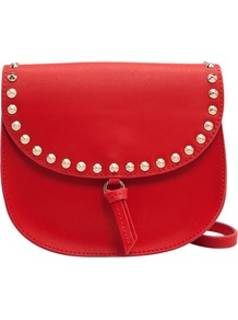 Flap Messenger Bag - predominant colour: true red; occasions: casual; style: messenger; length: across body/long; size: small; material: faux leather; embellishment: studs; pattern: plain; finish: plain