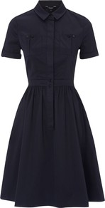 Avilla Dress, Navy - neckline: shirt collar/peter pan/zip with opening; pattern: plain; waist detail: fitted waist; predominant colour: navy; occasions: casual; length: just above the knee; fit: fitted at waist & bust; style: fit & flare; fibres: cotton - stretch; hip detail: structured pleats at hip; sleeve length: short sleeve; sleeve style: standard; texture group: cotton feel fabrics; pattern type: fabric